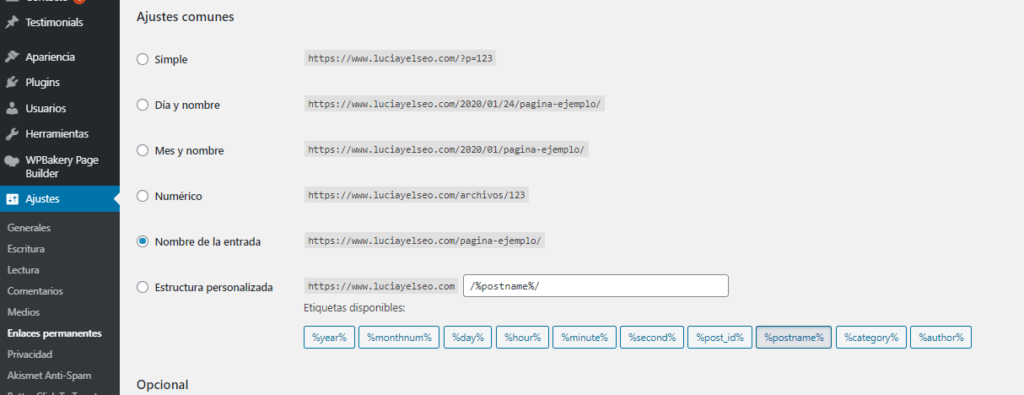 enlaces permanentes ajustes wordpress